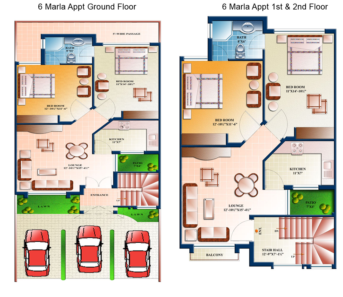 5 Marla House Map