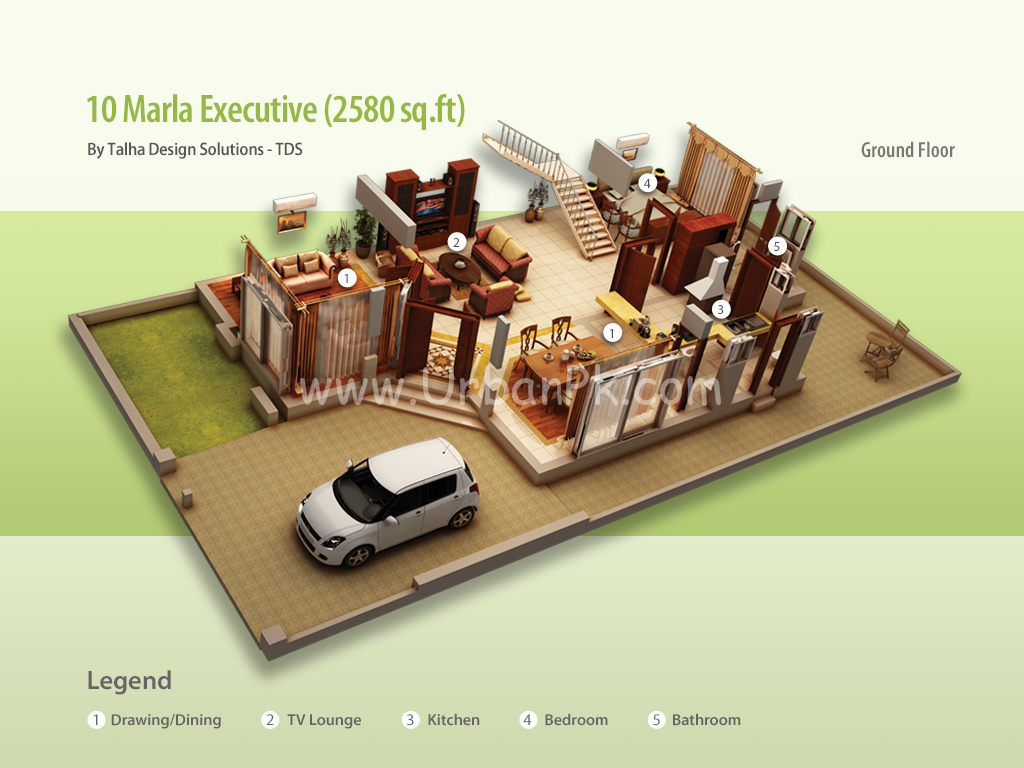 10 Marla Executive Render A Model Plan Pictures