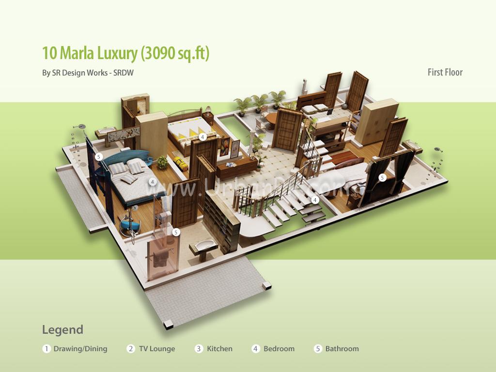 10 Marla House Maps