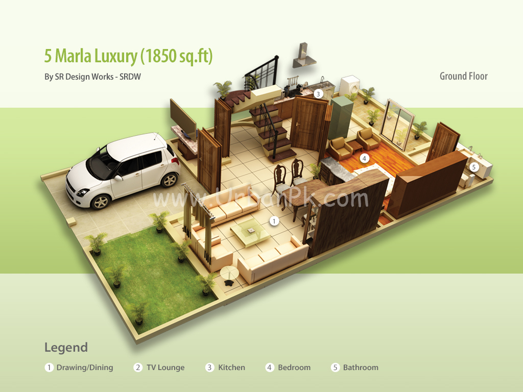 ... marla luxury render 5 marla luxury a model plan 5 marla luxury b